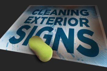 Clean Exterior Sign Using Sponge & Soap